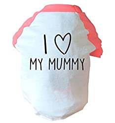 I Love my mummy two toned dog vest pink or blue