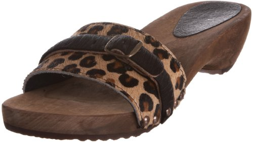 Sanita Women's Wood Safari Fur Sandal Brown Leopard Casual 451743/87 6 UK, 39 EU
