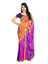 Morpankh enterprise Orange Georgette Saree ( Ridhhi 109 ORANGE )