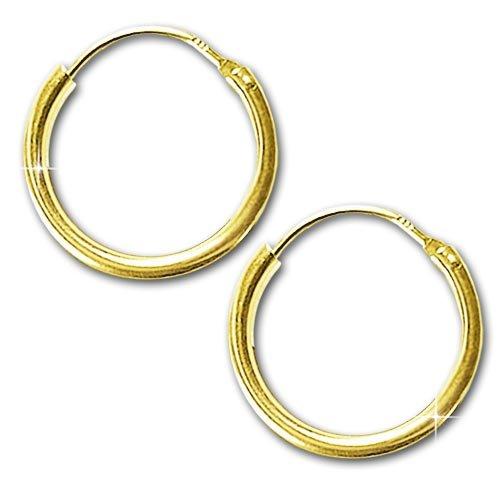 CLEVER SCHMUCK Goldene Ohrringe Paar Creolen Ø 15 x 1,3 mm glänzend schlicht ECHT GOLD 333