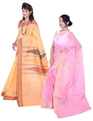 Banarasi Silk Works Amiable Orange And Pink Super Net Cotton Embroidered Combo Saree