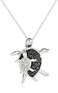 10k White Gold Black and White Diamond Mother and Baby Turtle Pendant Necklace (.08 cttw), 18""
