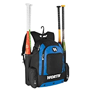 Worth Baseball Softball Backpack Gear Bag - Holds 4 Bats, 4 Separate Compartments... by Authentic Sports Shop - Worth