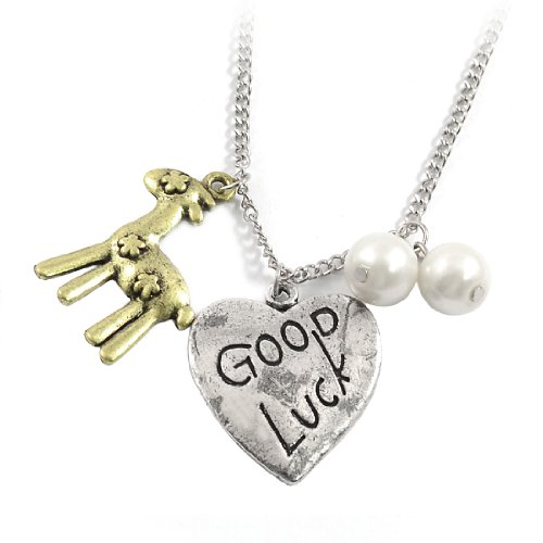 Rosallini Woman Good Luck Heart Deer Pendant Silver Tone Chain Necklace