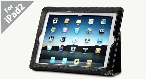 Acase (TM) New Improved iPad 2 100% Genuine Leather EZ Carry Case with 3 in 1 built in Stand for Apple iPad 2 2nd Generation WiFi / 3G Model 16GB, 32GB, 64GB (BLACK)