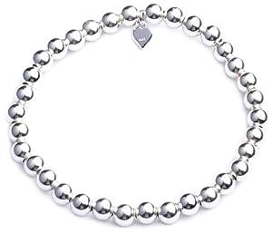 Adara Silver 6mm Ball Stretch Bracelet of Length 18cm