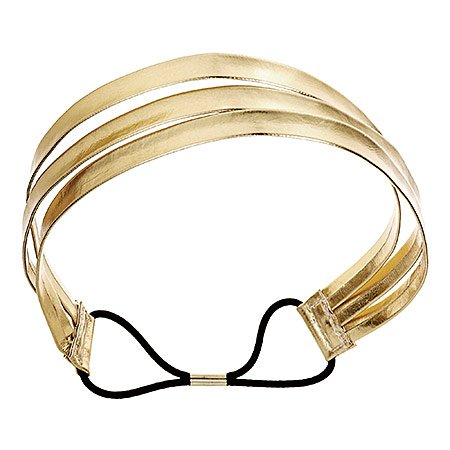 Mia Fashion Headband, Gold Triple Strap