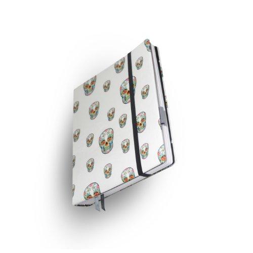 """Whitebook Haute Couture H011-ML, notebook modulare, tessuto seta, bianco con skull stampa, 240 pag., carta FSC (iPad Mini & Samsung Tab 8.4"""" integrabile, interno modulare ricaricabile)"""