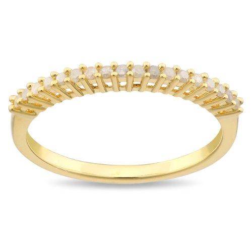 Sterling Silver 1/5 CT TDW Diamond Yellow Rhodium Plated Anniversary Ring (I3)