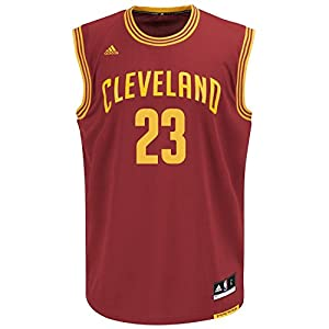 Lebron James Youth Cleveland Cavaliers Wine Replica Basketball Jersey by Adidas (XL=18-20)
