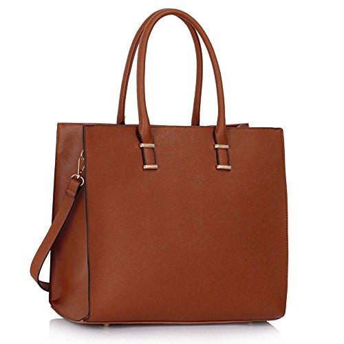 LeahWard Donna Fashion progettista Qualità Tote Borse Donna Trendy Hotselling Borse CWS00319 (Marrone)