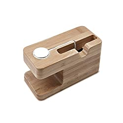 Dual Charging Station for Apple Watch & iPhone, MoKo Portable Bamboo Wood Charging Dock Stand Storage Holder for Apple iWatch 38mm / 42mm, iPhone 6s / 6s plus / 6 / 6 Plus / 5 / 5S