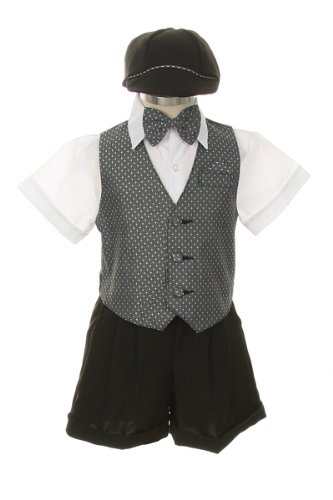Dress Shorts Suit Tuxedo Vest Outfit Set-Infant Baby Boys & Toddler,Gray-White