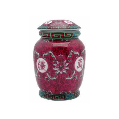 Oriental Furniture Great Gift For Grand Mother Mom Mother, 6-Inch Porcelain Tea Jar With Lucky Symbols Decoration, Fuchsia