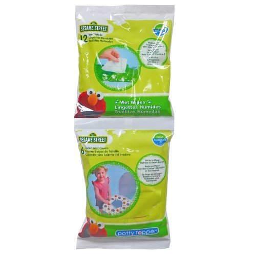 Sesame Street Potty Combo Pack - 6 Count Potty Topper & 12 Count Wipes - 1