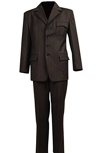 [Dben Men's Cosplay Costume Dr Brown Pinstripe Suit Blazer Pants] (Malcolm Merlyn Costume)
