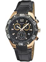 Accurist Men's Quartz Watch with Black Dial Chronograph Display and Black Leather Strap MS837B