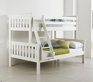 Happy Beds Atlantis Wooden Triple Sleeper Bunk Bed 3ft / 4ft With 2x Mattress