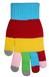 Boss Tech Products Knit Touchscreen Gloves with Conductive Fingertips for Use with All Touchscreen Electronic Devices- Rainbow