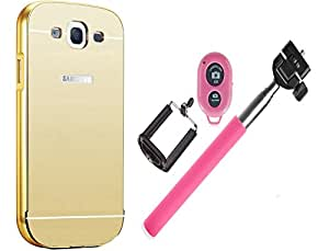 Novo Style Back Cover Case with Bumper Frame Case for Samsung Galaxy E7  Golden + Selfie Stick with Adjustable Phone Holder and Bluetooth Wireless Remote Shutter