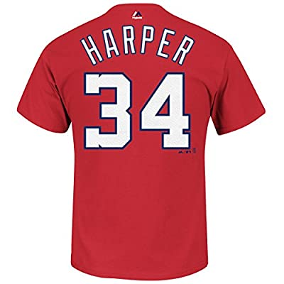MLB Majestic Bryce Harper Washington Nationals Player T-Shirt - Red