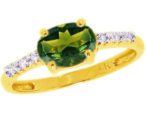 14K Yellow Gold Sweet Oval Gemstone and Diamond East-West Promise Ring-Green Tourmaline, size6