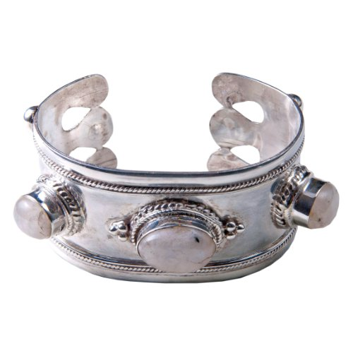 Sterling Silver 3 rainbow moonstones, Cabachon cut cuff bracelet