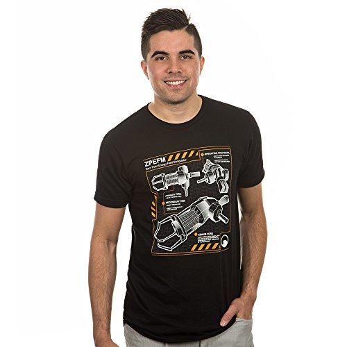 Half Life 2 Gravity Gun Blueprint Men's Short Sleeve Black Tee Shirt X-Large