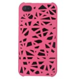 Leegoal(TM) Hot pink Interwove Line Bird's Nest style slim Snap on Hard cover case fit for iPhone 4 4G 4S With Accessories Sreen Protector,Anti Dust Plug