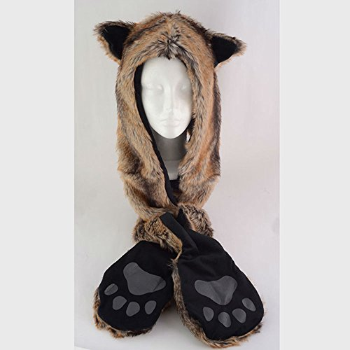 FOX Anime Faux Animal Hood Hoods Mittens Gloves Scarf Spirit Paws Ears