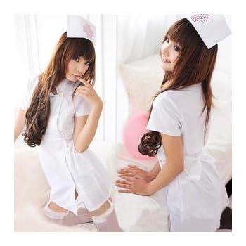 コスプレ衣装 ナース 看護婦コスチューム ナース服・帽子2点セット シロ