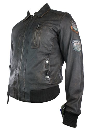 Mens Fitted Real Leather Jacket Bomber Vintage Aviator Style Badge Design Brown Retro