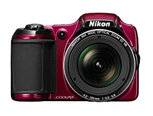 Nikon COOLPIX 26403B L820 16 MP CMOS Digital Camera with 30x Zoom Lens and Full HD 1080p Video, Red (Refurbished)