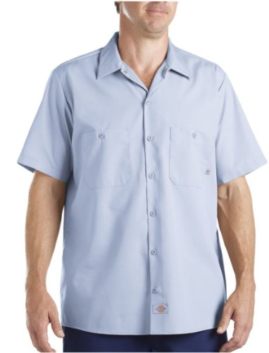 Dickies Occupational Workwear Ls535Lb 3Xlt Polyester/ Cotton Men'S Short Sleeve Industrial Work Shirt, 3X-Large Tall, Light Blue
