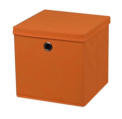2-Stck-Faltbox-Orange-28-x-28-x-28-cm-Aufbewahrungsbox-faltbar-mit-Deckel