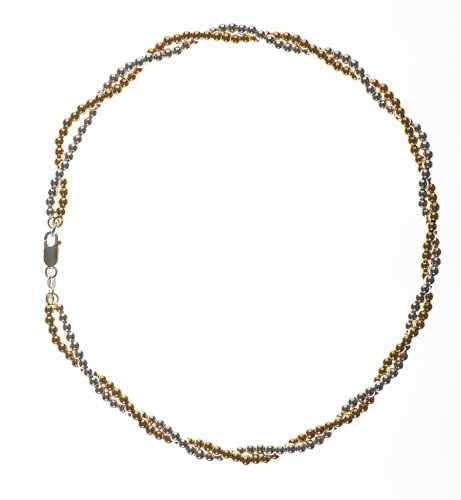 Silver Gold Plated 4mm Twisted Bead Necklet of 18 Inches