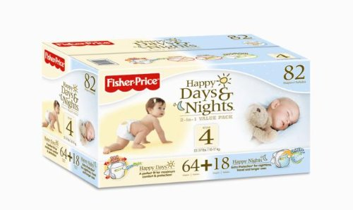 Fisher-Price Happy Days & Happy Nights Baby Diapers Value Pack, Size 4, 82 Count