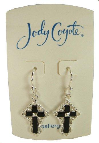 Jody Coyote Silver Black Fancy Cross Earrings 1331653