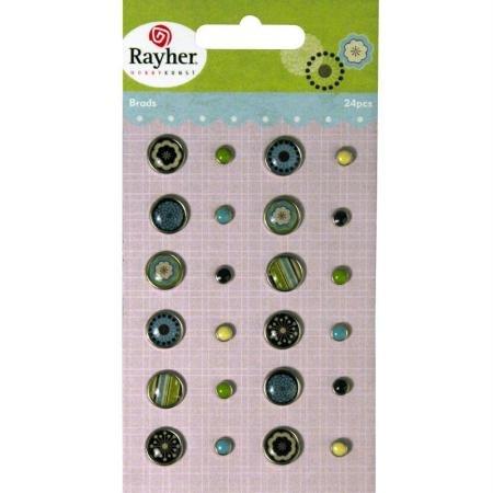 RAYHER - 7935400 - Tachuelas: Invierno, varios diseños, gr., {2} diámetro 0.5-1cm, tarjeta 24 pcs, SB-diseño tarjeta.{1}