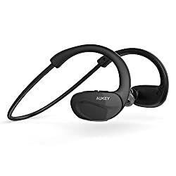 Aukey Bluetooth Headphones V4.1 Wireless Stereo Sport Headphones Running Gym Exercise Sweatproof Headset Earbuds with Balanced Audio, Built-in Mic for iPhone 6S, 6S Plus,Samsung, Android Smartphones
