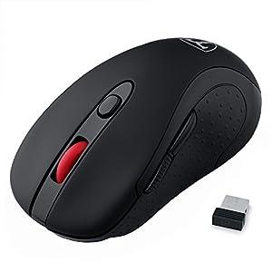 Patech ワイヤレスミニマウス 2.4Ghzワイヤレスマウス 五段階のDPI調節 6ボタン 省エネスリープモード搭載(ブラック)