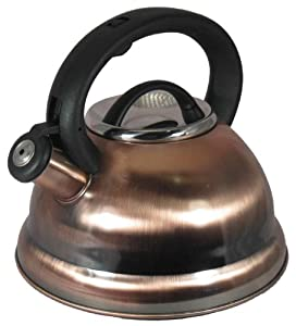 Alpine Copper Finish Encapsulated Base 18 10 Stainless Steel Whistling Tea Kettle Pot by Alpine