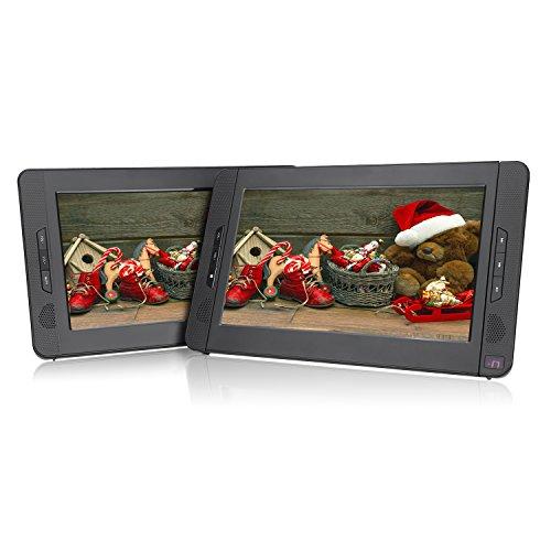 Pumpkin Double Ecrans d'Appuie-tête 10,1 Pouce (Un Lecteur DVD et Un Moniteur) Résolution 1024 * 600 HD Batterie Rechargeable 2700MAH avec Etui de Montage dans Voiture