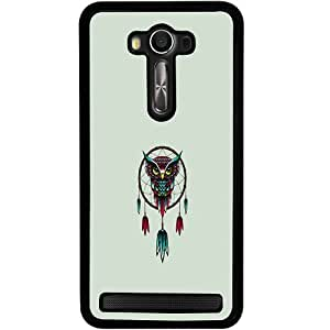 Casotec Owl Bird Dream Catcher Pattern Design 2D Hard Back Case Cover for Asus Zenfone 2 Laser ZE550KL - Black