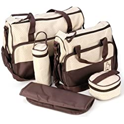5tlg Wickeltasche Babytasche Pflegetasche Tasche Braun Baby