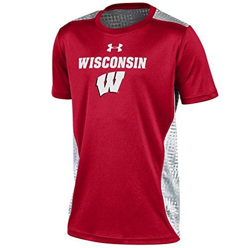 NCAA Wisconsin Badgers Boys NCAA Under Armour Boys' Short sleeve Raid Novelty Tee, Red, Small