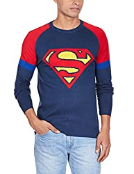 Superman Men's Cotton Blend Sweater (8903346477289_SP1DMW37_Small_Dress Blue and Red)