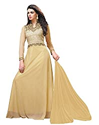 Jiya Presents Stitched Chiffon Lycra Floor Length Gown(Beige)