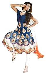 Dipak Fashion New Designer Blue Fancy Printed Georgette Salwaar Kurti For Women