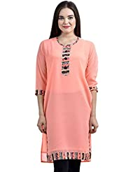 Aazap Ethnic Wear Cotton Khadi Mill Printed & Embroidrey Work Kurti For Women